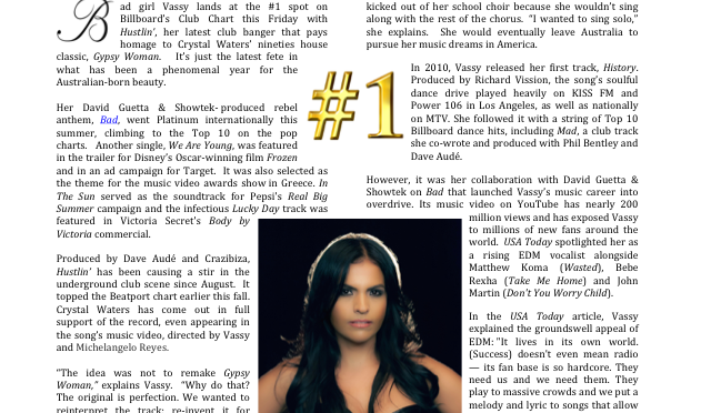 VASSY HUSTLES TO THE TOP SPOT ON BILLBOARD WITH CRYSTAL WATERS INSPIRED CLUB BANGER