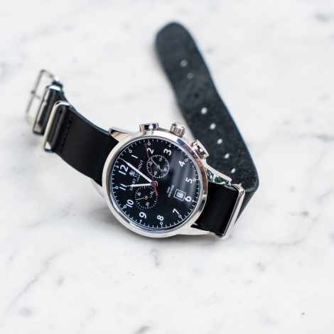 classic watch black leather