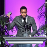 PASADENA, CA - JANUARY 14: Jay Ellis accepts award for Outstanding Supporting Actor in a Comedy at the 49th NAACP Image Awards Non-Televised Awards Dinner at the Pasadena Conference Center on January 14, 2018 in Pasadena, California. (Photo by Earl Gibson III/Getty Images) *** Local Caption *** Jay Ellis